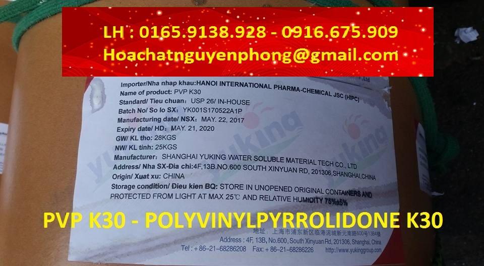 PVP K30 , Polyvinylpyrrolidone K30 , Nguyên liệu dược phẩm , USP 39
